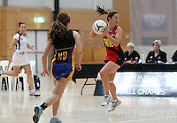 05.10.2012 Tasman's Jodi Hikuroa in action during the netball match between Tasman and Eastern at the Lion Foundation Netball Champs in Tauranga. Mandatory Photo Credit ©Michael Bradley.