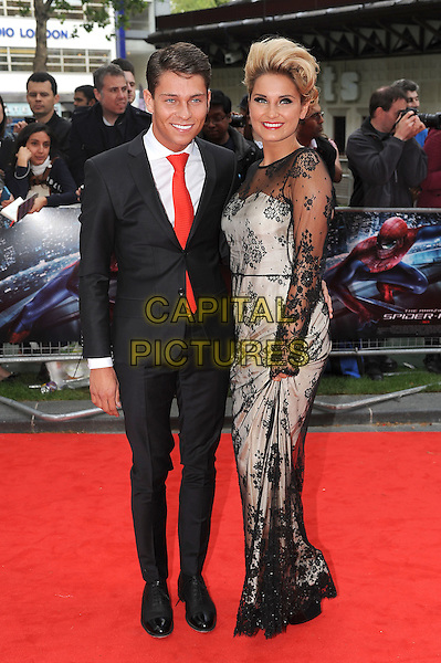 Joey Essex and Sam Faiers.'The Amazing Spider-Man' UK film premiere, Odeon Leicester Square cinema, London, England..June 18th, 2012.full length black dress suit white silver  lace side red tie arm around waist couple .CAP/BEL.©Tom Belcher/Capital Pictures.