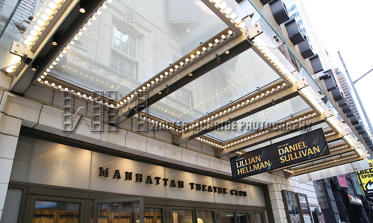 """Theatre Marquee unveiling for """"The Little Foxes"""" starring Laura Linney and Cynthia Nixon at the Samuel J. Friedman Theatre on 3/31/2017 in New York City."""