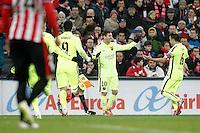 FC Barcelona's Leo Messi (l) and Xavi Hernandez celebrate goal during La Liga match.February 8,2015. (ALTERPHOTOS/Acero) /NORTEphoto.com
