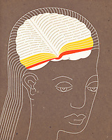 Woman with book inside of head ExclusiveImage