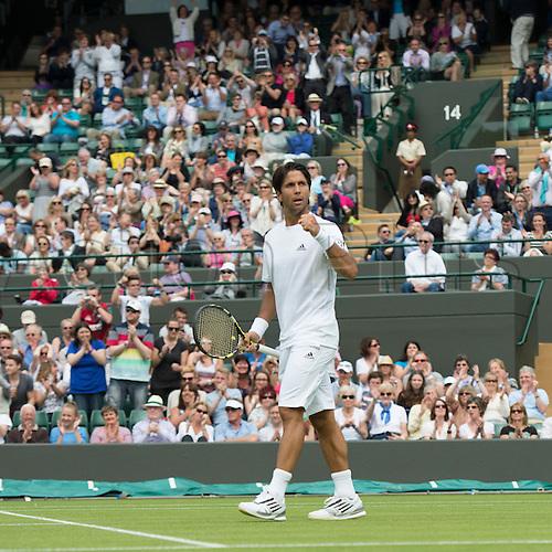 27.06.2013. The Wimbledon Tennis Championships 2013 held at The All England Lawn Tennis and Croquet Club, London, England, UK.  <br /> <br /> Fernando Verdasco (ESP) (dark hair) v Julien Benneteau (FRA) [31]