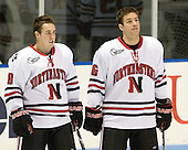 Mike McLaughlin (NU - 18), Kyle Kraemer (NU - 16) - The Northeastern University Huskies defeated the Bentley University Falcons 3-2 on Friday, October 16, 2009, at Matthews Arena in Boston, Massachusetts.