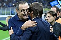 Maurizio Sarri coach of Juventus , Antonio Conte coach of FC Internazionale <br /> Milano 6-10-2019 Stadio Giuseppe Meazza <br /> Football Serie A 2019/2020 <br /> FC Internazionale - Juventus FC <br /> Photo Andrea Staccioli / Insidefoto