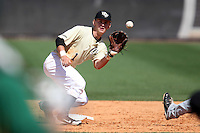UCF Knights second baseman Travis Shreve #1 takes the throw on a stolen base attempt during a game against the Siena Saints at the UCF Baseball Complex on March 4, 2012 in Orlando, Florida.  Central Florida defeated Siena 15-2.  (Mike Janes/Four Seam Images)