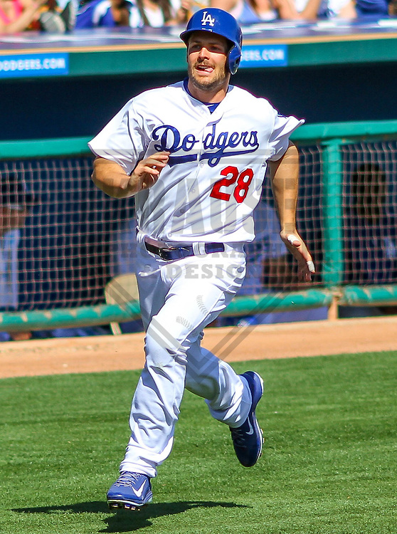 GLENDALE - March 2015: Chris Heisey (28) of the Los Angeles Dodgers during a spring training game against the Cleveland Indians on March 17th, 2015 at Camelback Ranch in Glendale, Arizona. (Photo Credit: Brad Krause)