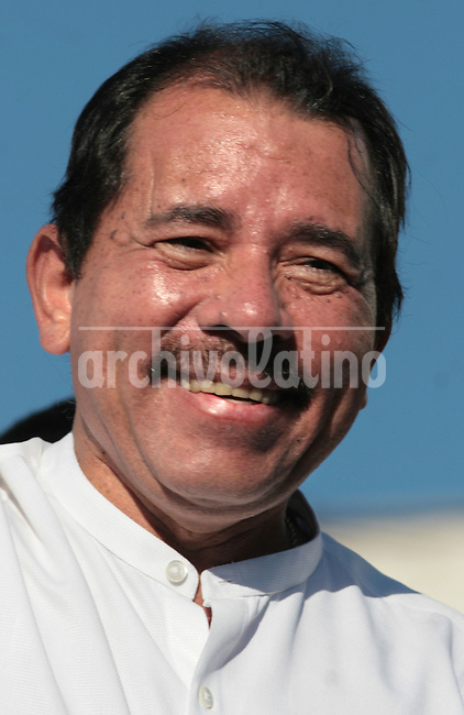 President of Nicaragua Daniel Ortega smiles   during the  Meeting for the Friendship of the Iberoamerican People  in Santiago de Chile, Saturday, November  10, 2007.The meeting was a parallel event of the Iberoamerican Summit...