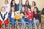 Clonkeen Youth Choir represented by Bottom L-R  Alisa Cronin, Lucy Cronin, Jennifer Murphy, Mairead Kelleher and Caitlin Falvey, Top L-R Ellen Cronin, Aoife Kelleher, Connie Lynch, Leah Lynch and Aoife Cronin all from Glenflesk at the Rambling House session in St Agatha's GAA Community Hall in Glenflesk last saturday night.
