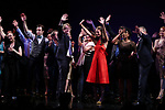 Harriet Harris, Gavin Creel, Rob Ashford, Dick Scanlan, Sutton Foster, Sheryl Lee Ralph, Marc Kudisch and Kate Baldwin during the curtain Call bows for the Actors Fund's 15th Anniversary Reunion Concert of 'Thoroughly Modern Millie' on February 18, 2018 at the Minskoff Theatre in New York City.