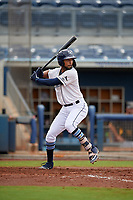 Charlotte Stone Crabs Garrett Whitley (16) bats during a Florida State League game against the Bradenton Maruaders on August 7, 2019 at Charlotte Sports Park in Port Charlotte, Florida.  Charlotte defeated Bradenton 3-2 in the second game of a doubleheader.  (Mike Janes/Four Seam Images)