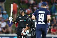 New Zealand's Ross Taylor reaches 50. New Zealand Blackcaps v England. One Day International Cricket. Seddon Park, Hamilton, New Zealand on Sunday 25 February 2018.<br /> <br /> Copyright photo: &copy; Bruce Lim / www.photosport.nz
