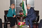 Palestinian President Mahmoud Abbas meets with Federica Mogherini, High Representative of the EU for Foreign Affairs and Security Policy, in New York a day before the start of the 73rd session of the UN General Assembly, on September 24, 2018. Photo by Thaer Ganaim