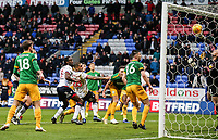Preston North End's goalkeeper Declan Rudd tips the ball over the bar to deny Bolton Wanderers' an equaliser<br /> <br /> Photographer Andrew Kearns/CameraSport<br /> <br /> The EFL Sky Bet Championship - Bolton Wanderers v Preston North End - Saturday 9th February 2019 - University of Bolton Stadium - Bolton<br /> <br /> World Copyright &copy; 2019 CameraSport. All rights reserved. 43 Linden Ave. Countesthorpe. Leicester. England. LE8 5PG - Tel: +44 (0) 116 277 4147 - admin@camerasport.com - www.camerasport.com