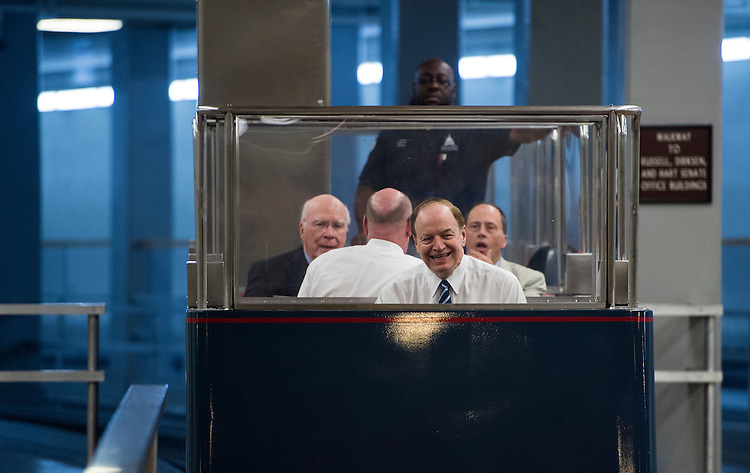 UNITED STATES - JULY 29: Sen. Richard Shelby, R-Ala., arrives in the Capitol via the Russell Senate subway for votes on Wednesday, July 29, 2015. Also on the train is Sen. Pat Leahy, D-Vt. (Photo By Bill Clark/CQ Roll Call)
