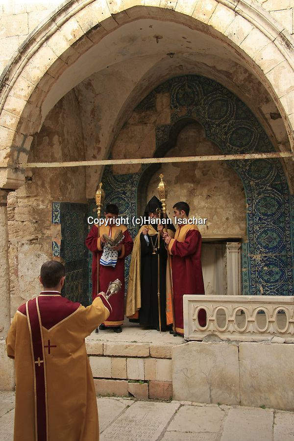 Israel, Jerusalem Old City, Easter, Armenian Orthodox Maundy Thursday ceremony at the House of Caiaphas on Mount Zion