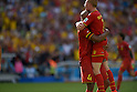 (L-R) Vincent Kompany, Kevin De Bruyne (BEL),<br /> JUNE 22, 2014 - Football / Soccer :<br /> Vincent Kompany and Kevin De Bruyne of Belgium celebrate during the FIFA World Cup Brazil 2014 Group H match between Belgium 1-0 Russia at Estadio do Maracana in Rio de Janeiro, Brazil. (Photo by FAR EAST PRESS/AFLO)