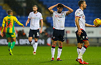 Bolton Wanderers' Jason Lowe reacts to the final whistle<br /> <br /> Photographer Alex Dodd/CameraSport<br /> <br /> The EFL Sky Bet Championship - Bolton Wanderers v West Bromwich Albion - Monday 21st January 2019 - University of Bolton Stadium - Bolton<br /> <br /> World Copyright © 2019 CameraSport. All rights reserved. 43 Linden Ave. Countesthorpe. Leicester. England. LE8 5PG - Tel: +44 (0) 116 277 4147 - admin@camerasport.com - www.camerasport.com