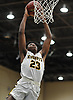 Zion Styles #23 of Uniondale soars through the air for two points during the Nassau County varsity boys basketball Class AA semifinals against Westbury at Farmingdale State College on Monday, Feb. 26, 2018. He scored 18 points in top-seeded Uniondale's 61-44 win.