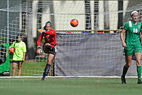 8 November 2015:  Marshall Goalkeeper Lizzie Kish (1) returns the ball to play after recording a save in the first half as the University of North Texas Mean Green defeated the Marshall University Thundering Herd, 1-0, in the Conference USA championship game at University Park Stadium in Miami, Florida.