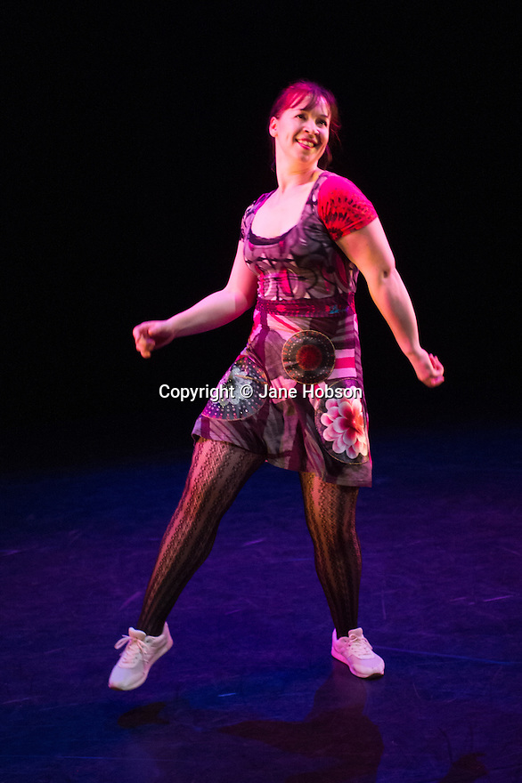 London, UK. 13.02.2014. Cindy Claes presents her Wild Card production of DANCEHALL TAKEOVER in the Lilian Baylis Studio, at Sadler's Wells. Picture shows: IS MY WHINING WINDING YOU UP, with Cindy Claes. Photograph © Jane Hobson.