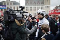 Jasper Stuyven (BEL/Trek-Segafredo) interviewed at the start<br /> <br /> 71st Dwars door Vlaanderen (1.HC)