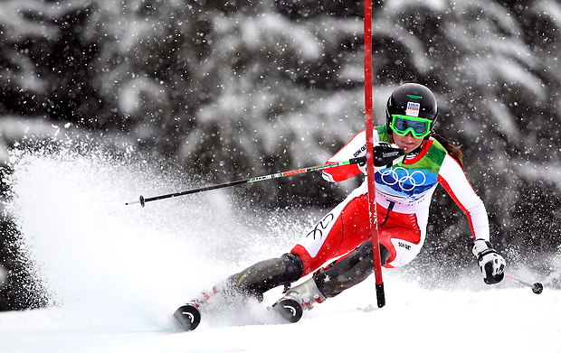 Sarka Zahrobska of the Czech Republic navigates the course during her first run in the women's slalom at the XXI Olympic Winter Games Friday, February 26, 2010 in Whistler, BC.  She won the Bronze medal.