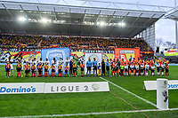 20191221 - LENS , FRANCE : teams of Niort FC and Racing Club de Lens  pictured before the soccer match between Racing Club de LENS and Niort , on the 19 th matchday in the French Ligue 2 at the Stade Bollaert Delelis stadium , Lens . Saturday 21 December 2019. PHOTO STIJN AUDOOREN   SPORTPIX.BE