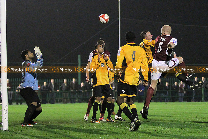 Kenny Clark finds the net for Chelmsford but his effort is disallowed - East Thurrock United vs Chelmsford City - FA Cup 4th Qualifying Round Football at Rookery Hill - 23/10/12 - MANDATORY CREDIT: Gavin Ellis/TGSPHOTO - Self billing applies where appropriate - 0845 094 6026 - contact@tgsphoto.co.uk - NO UNPAID USE.