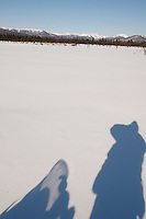 Sunday  March 14 , 2010  My shadow standing on my snow-machine while photographihng Michelle Phillips running down a swamp 2 miles after leaving the the Kaltag checkpoint with the Nulato Hills in the background .