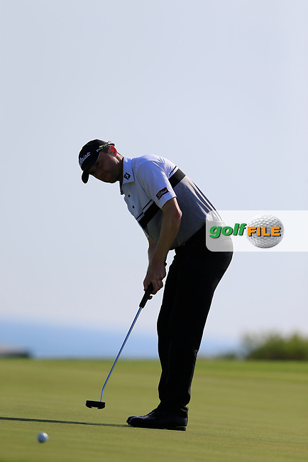 Michael Hoey (NIR) misses his put for birdie on the 10th during the 1st round the The Rocco Forte Open, Verdura Golf &amp; Spa Resort, Agrigento, Sicily, Italy. 18/05/2017.<br /> Picture: Golffile | Fran Caffrey<br /> <br /> <br /> All photo usage must carry mandatory copyright credit (&copy; Golffile | Fran Caffrey)