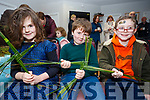 Making a St Bridgets Cross is no trouble to these young masters at the workshop in Ballinskelligs on Sunday, pictured here l-r; Siún Ní Shiochrú, Séamus Ó Siochrú and Tom Walsh.