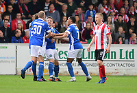Macclesfield Town's Mitch Hancox, second in from right, celebrates scoring the opening goal with team-mates<br /> <br /> Photographer Chris Vaughan/CameraSport<br /> <br /> Vanarama National League - Lincoln City v Macclesfield Town - Saturday 22nd April 2017 - Sincil Bank - Lincoln<br /> <br /> World Copyright &copy; 2017 CameraSport. All rights reserved. 43 Linden Ave. Countesthorpe. Leicester. England. LE8 5PG - Tel: +44 (0) 116 277 4147 - admin@camerasport.com - www.camerasport.com
