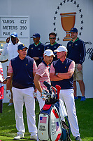 Phil Mickelson (USA), Kevin Kisner (USA), and Steve Stricker (USA) chat on the first tee during round 2 Four-Ball of the 2017 President's Cup, Liberty National Golf Club, Jersey City, New Jersey, USA. 9/29/2017.<br /> Picture: Golffile | Ken Murray<br /> <br /> All photo usage must carry mandatory copyright credit (&copy; Golffile | Ken Murray)