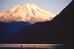 Kayaker, Mount Baker, Baker Lake, sunrise, Washington State, Cascade Range, Pacific Northwest, USA,.