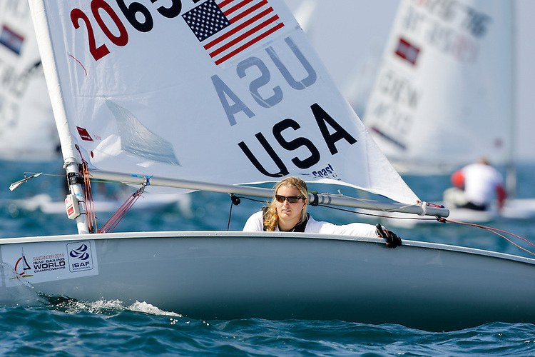 SANTANDER, SPAIN - SEPTEMBER 14:  Laser Radial - USA206526 - Claire DENNIS in action during Day 3 of the 2014 ISAF Sailing World Championships on September 14, 2014 in Santander, Spain.  (Photo by MickAnderson/SAILINGPIX via Getty Images)