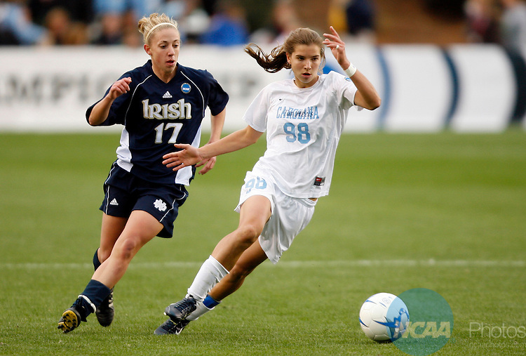 03 DEC 2006:  Tobin Heath (98) of the University of North Carolina races Susan Pinnick (17) of Notre Dame University to the ball during the Division I Women's Soccer Championship held at the SAS Soccer Park in Cary, NC.  North Carolina defeated Notre Dame 2-1 for the national title.  Jamie Schwaberow/NCAA Photos