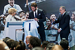 Madrid Mayor Manuela Carmena and Real Madrid's president Florentino Perez and Sergio Ramos at Crystal Gallery of the Palacio de Cibeles in Madrid, May 22, 2017. Spain.<br /> (ALTERPHOTOS/BorjaB.Hojas)