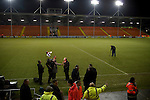 Blackpool 2 Liverpool 1, 12/01/2011. Bloomfield Road, Premier League. Blackpool FC manager Ian Holloway being interviewed by a television crew on the pitch at his club's Bloomfield Road stadium after the match against Liverpool FC in the Premier League. The home side won by two goals to one in front of a crowd of 16,089. It was the first time the clubs had met in a league match since Blackpool were last in the top division of English football in 1970-71. Photo by Colin McPherson.