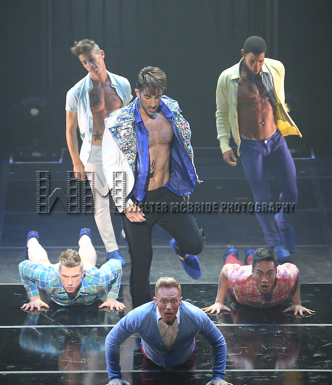 "Brandon Rubendall and cast perform in Broadway Cares/Equity Fights AIDS' ""Broadway Bares, Rock Hard!"" at Hammerstein Ballroom June 22, 2014 in New York City."