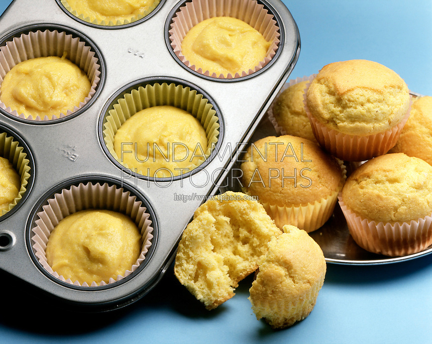 MUFFINS: UNCOOKED &amp; COOKED<br /> Carbon dioxide gas is produced when sodium bicarbonate (baking soda) reacts with an acid. When making quick breads such as muffins, sodium bicarbonate is mixed with a dry acid such as potassium hydrogen tartrate, KHC4H4O6 (cream of tartar) and water.