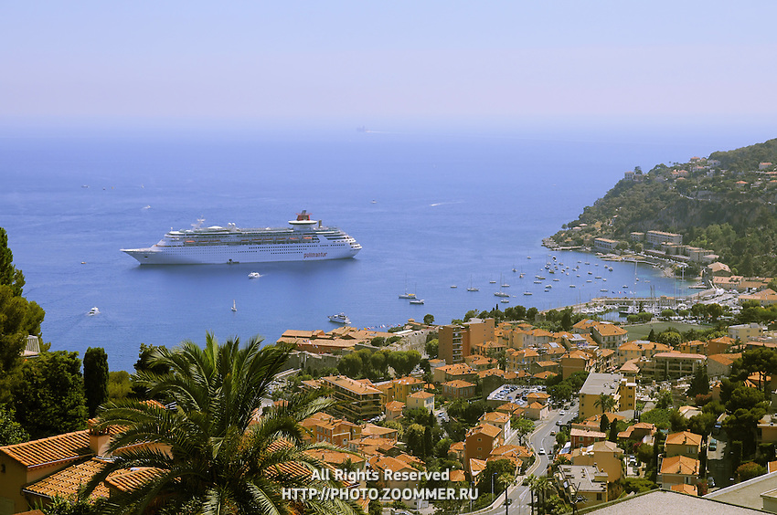 "Big and luxury cruising ship ""Pullmantur"" in French riviera between Saint Tropez and Monaco."