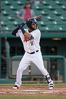 Fresno Grizzlies left fielder Alejandro Garcia (16) at bat during a Pacific Coast League game against the Salt Lake Bees at Chukchansi Park on May 14, 2018 in Fresno, California. Fresno defeated Salt Lake 4-3. (Zachary Lucy/Four Seam Images)