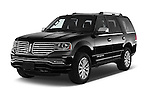 2015 Lincoln Navigator 2Wd AT 5 Door Suv 2WD Angular Front stock photos of front three quarter view