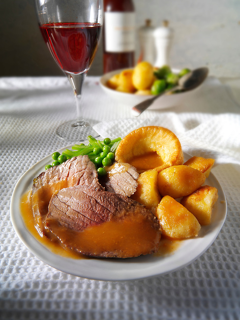 Roast beef Yorkshire pudding and gravy stock photos