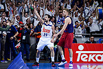 Real Madrid's Sergio Llull and FC Barcelona Lassa's Aleksandar Vezenkov during Liga Endesa match between Real Madrid and FC Barcelona Lassa at Wizink Center in Madrid, Spain. March 12, 2017. (ALTERPHOTOS/BorjaB.Hojas)
