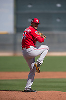Cincinnati Reds relief pitcher Brennan Bernardino (44) during a Minor League Spring Training game against the Los Angeles Angels at the Cincinnati Reds Training Complex on March 15, 2018 in Goodyear, Arizona. (Zachary Lucy/Four Seam Images)
