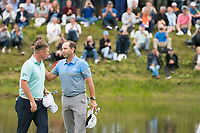 Sergio Garcia (ESP) and Callum Shinkwin (ENG) on the 18th hole during the final round at the KLM Open, The International, Amsterdam, Badhoevedorp, Netherlands. 15/09/19.<br /> Picture Stefano Di Maria / Golffile.ie<br /> <br /> All photo usage must carry mandatory copyright credit (© Golffile | Stefano Di Maria)