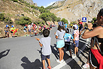 Young fans watch as Jesus Herrada (ESP) Cofidis and Jack Haig (AUS) Mitchelton-Scott pass by on the slopes of Sierra de la Alfaguara near the finish of Stage 4 of the La Vuelta 2018, running 162km from Velez-Malaga to Alfacar, Sierra de la Alfaguara, Andalucia, Spain. 28th August 2018.<br /> Picture: Eoin Clarke | Cyclefile<br /> <br /> <br /> All photos usage must carry mandatory copyright credit (&copy; Cyclefile | Eoin Clarke)