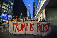 NEW YORK,NY APRIL 14: A group of girls marching during the anti-Trump protest in midtown Manhattan on April 14,2016 in New York City.Photo by VIEWpress/Maite H. Mateo