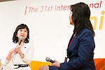 (L to R) Japanese politicians Tomomi Inada and Seiko Noda speak during the 21st International Conference for Women in Business at Grand Nikko Tokyo Daiba on July 18, 2016, Tokyo, Japan. 55 guest speakers, principally female leaders, gathered to discuss the roles of women in politics, business and society. (Photo by Rodrigo Reyes Marin/AFLO)